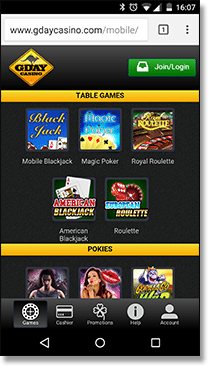 Play real money casino games at G'Day mobile casino
