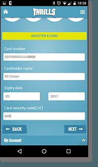 Thrills Casino - credit card fund transfers