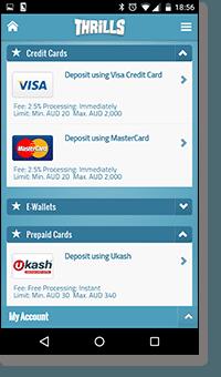 Thrills mobile casino - deposit banking methods