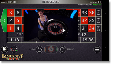 Live dealer mobile immersive roulette