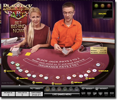 Blackjack Party live dealer 21 on mobile