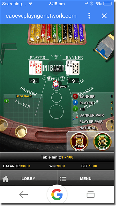 Mini Baccarat on mobile at Leo Vegas Casino