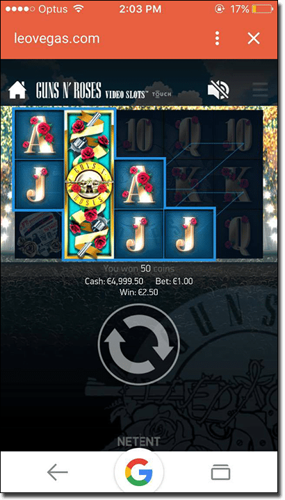 Play Guns 'N Roses mobile pokies