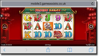 Dragon Dance mobile pokies by Microgaming