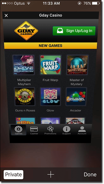 Safari mobile casinos