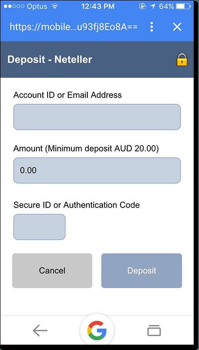Deposit money with Neteller at mobile casinos