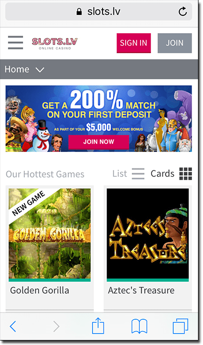 Slots.lv mobile casino site