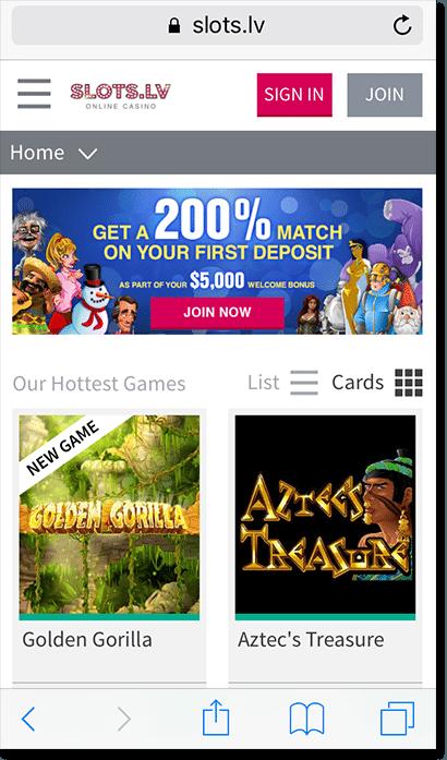Slots.lv mobile casino site