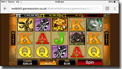 Mega Moolah mobile pokies by Microgaming